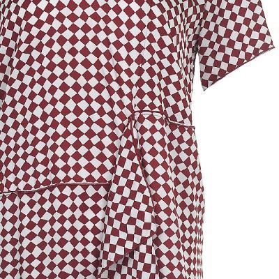 unbalance detail check pattern dress